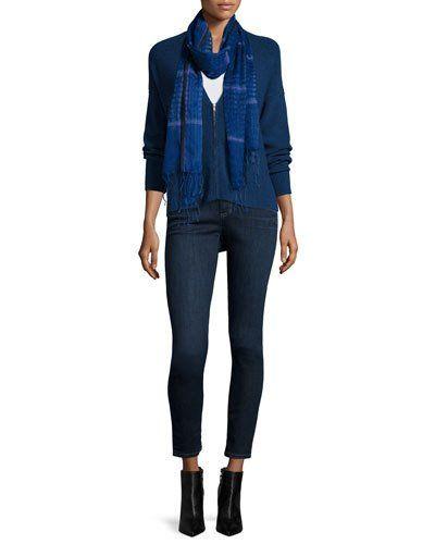 -6E6A Eileen Fisher  Organic Cotton Slim Tank Organic Soft Stretch Skinny Jeans, Washed Indigo