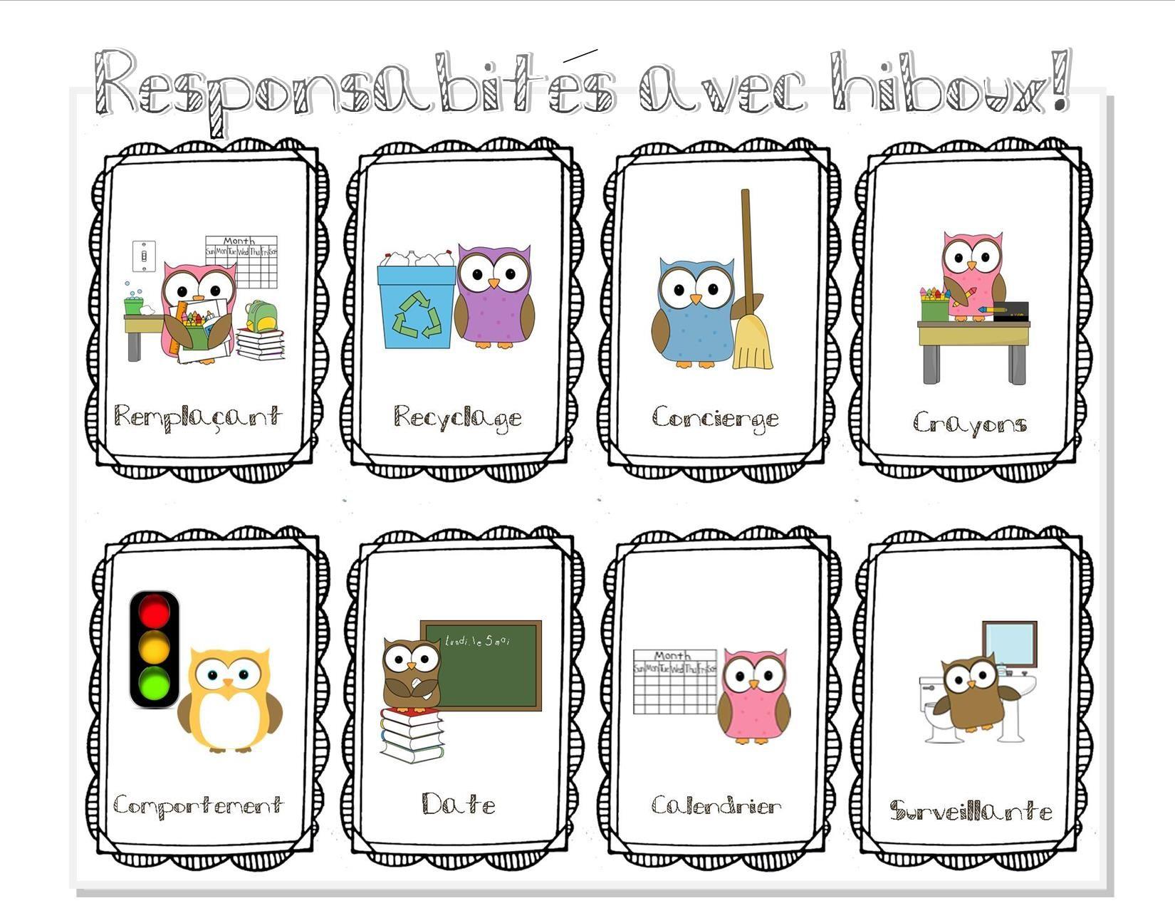 Responsabilités   Tableau des responsabilités, Gestion de classe et Classe thème hibou