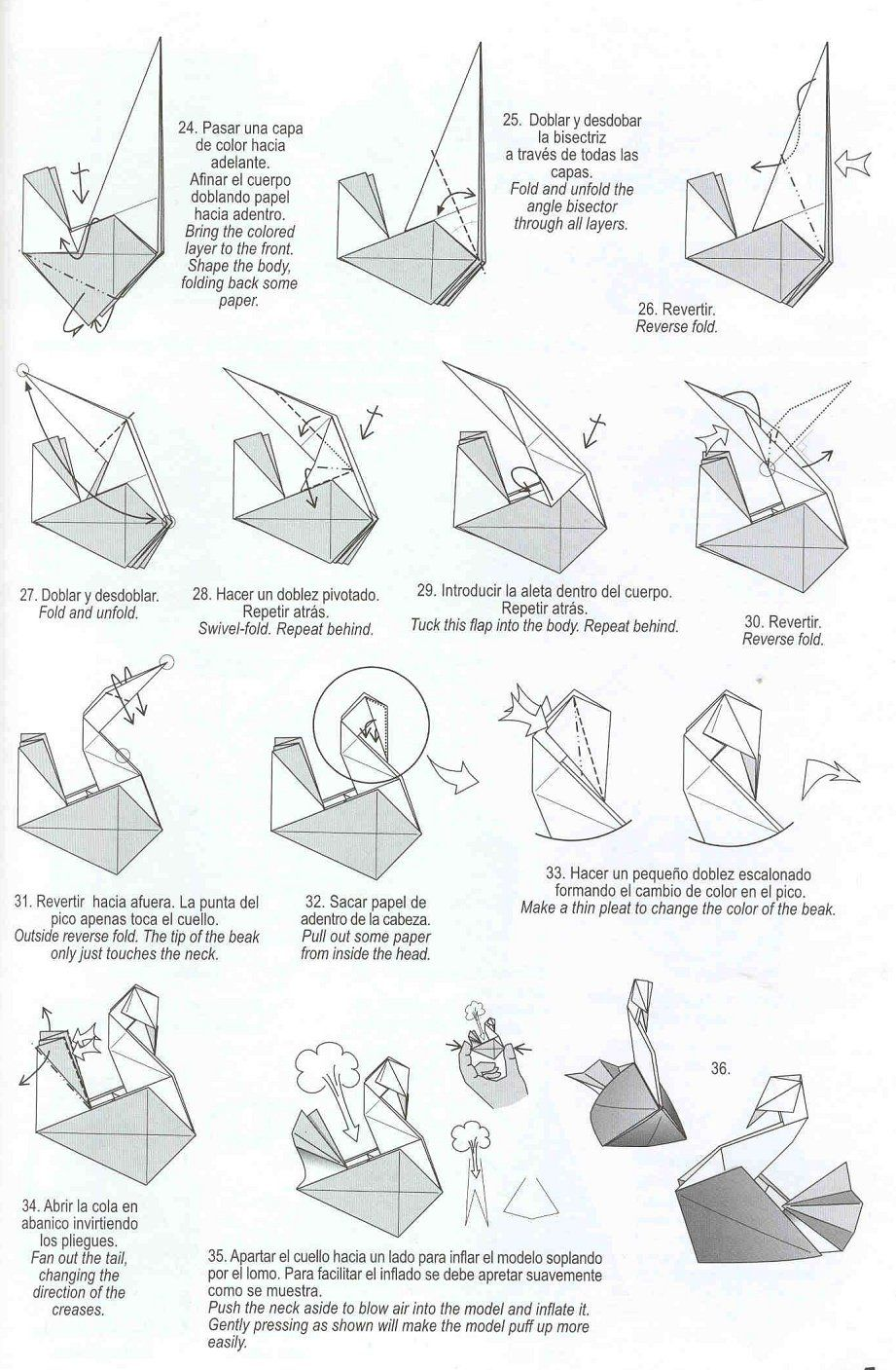 Origami instructions swan images for Origami swan step by step