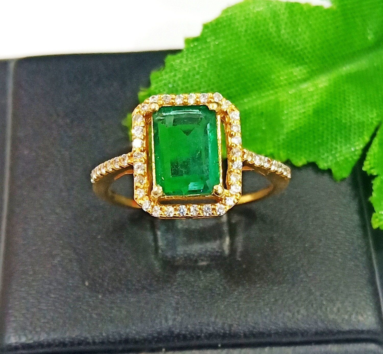 e3ea5606f 925 Sterling Silver Gold Vermeil Natural Green Emerald   CZ Women Rings