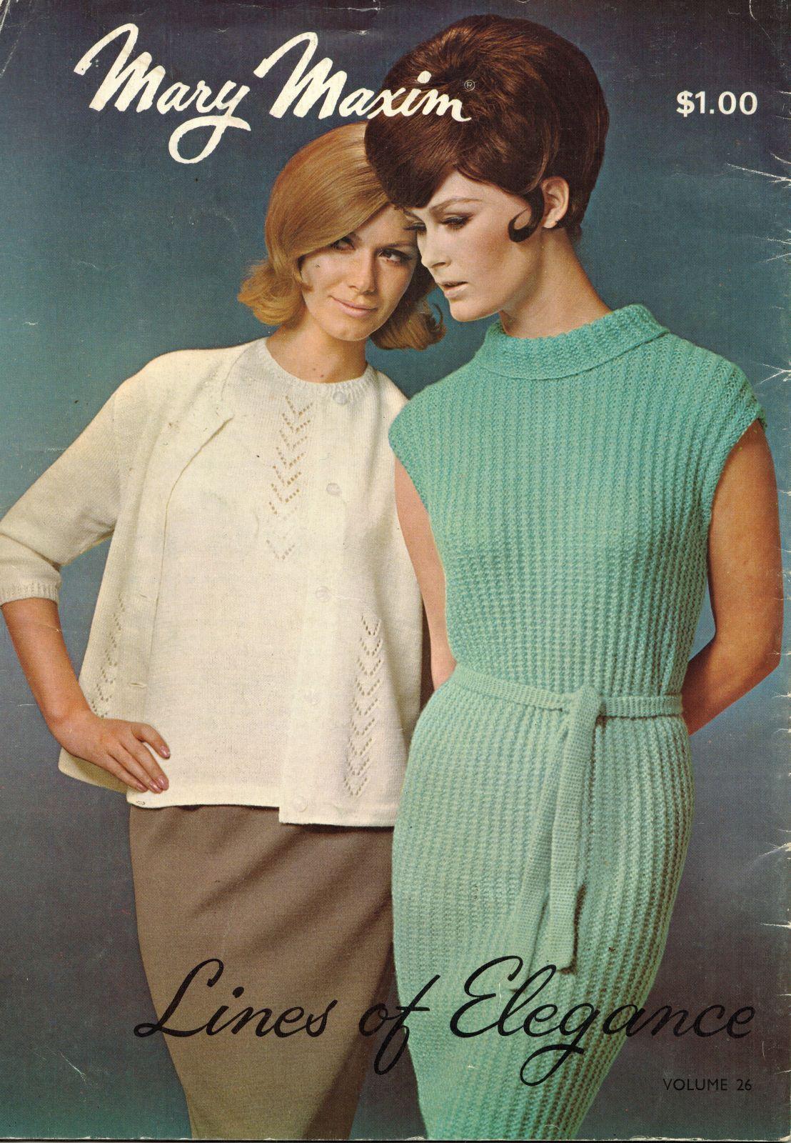 Vtg Misses Mary Maxim Knit Crochet Shell Sheath Pullover Cardigan ...