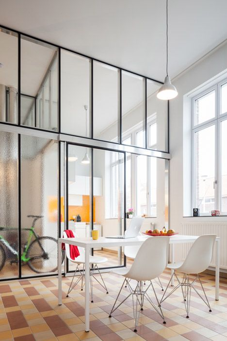Glass partitions ide up the interior spaces of apartments created within  former school building home pinterest design and also rh