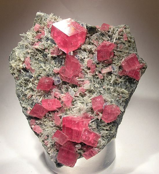 Rhodochrosite with Quartz and Fluorite from Sweet Home Mine, Alma, Alma District, Park Co., Colorado, United States. cabinet - 10 x 8 x 2 cm