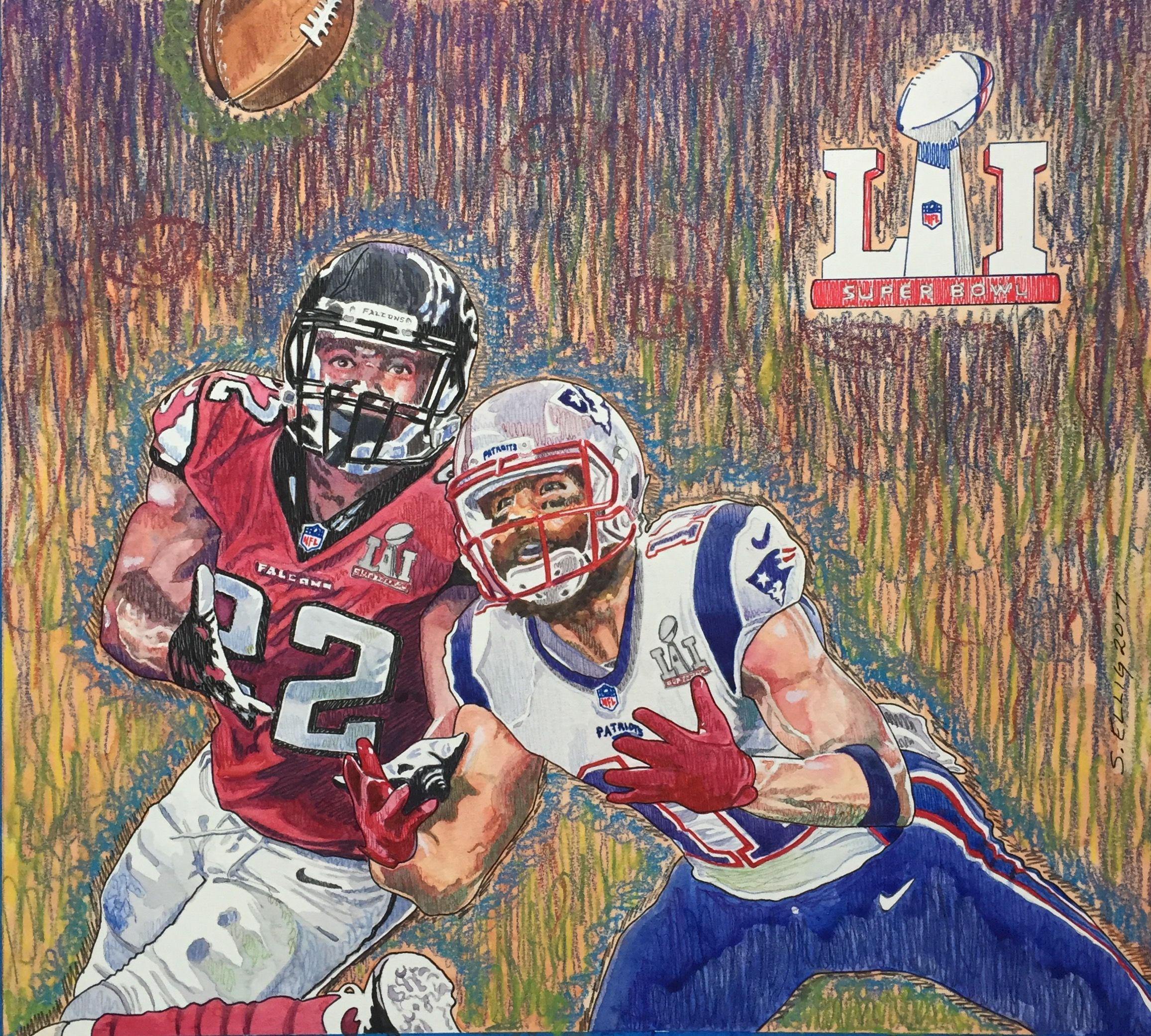 Julian Edelman Super Bowl Catch Watercolor And Colored Pencil Football Football Helmets My Arts