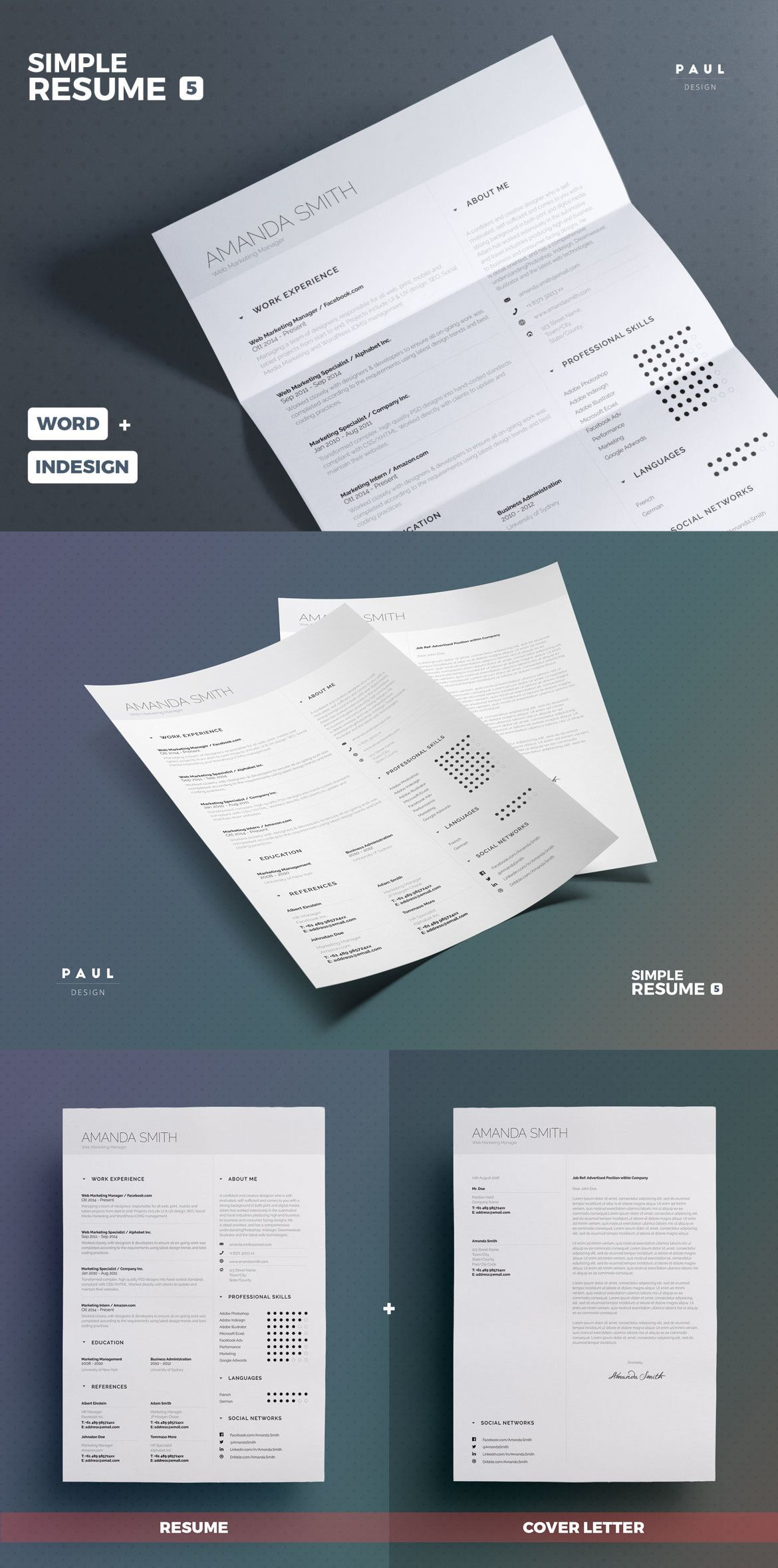 Simple Resume / Cv Template InDesign INDD, MS Word | Design | Pinterest