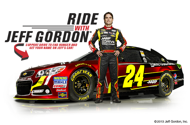 Want to join AARP & the AARP Foundation's fight to end senior hunger? Well, if you're a #NASCAR fan here's your chance. Donate $124+ to our Drive to End Hunger and your name can end up on #JeffGordon's 24 car at Chicagoland Speedway race in September. Click on photo to get more information.