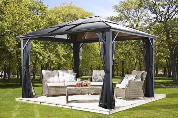 10x10 Meridien Polycarbonate Hard Top Gazebo With Pvc Coated Mosquito Netting Us Sojag Steel