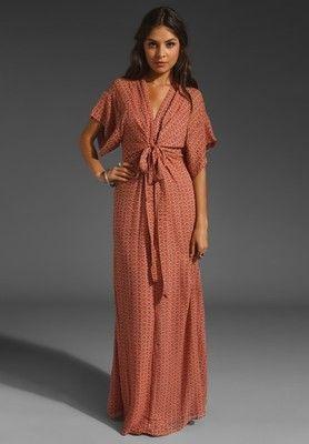 acc63bd745580 XS Winter Kate Vintage Silk Kimono Maxi Dress in Paprika Coral Print 0 2 |  eBay