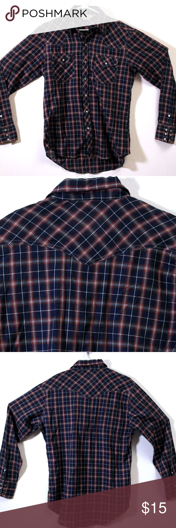5f7779e6 Vintage SEARS WESTERN WEAR Men's Pearl Snap Shirt Vintage Sears Western Wear  Pearl Snap Button Down Shirt Size Medium Plaid with blue, red, yellow, ...