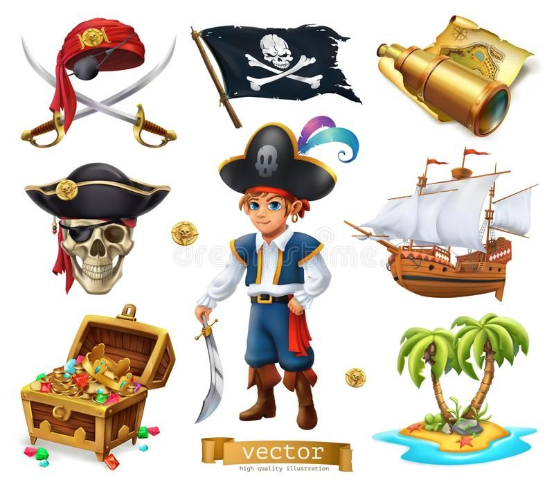 Pirates Set Boy Treasure Chest Map Flag Ship And Island 3d Vector Icon Vector Illustration Pirates Pirate Treasure Maps Pirate Treasure