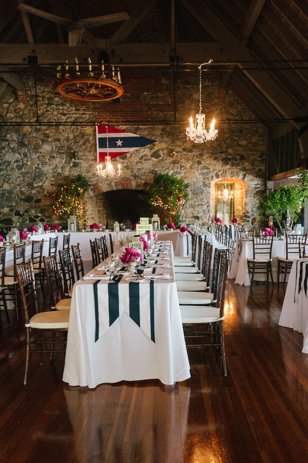 Blue U0026 White Striped Table Runners For This Nautical Themed Wedding In New  Hampshire. Photo
