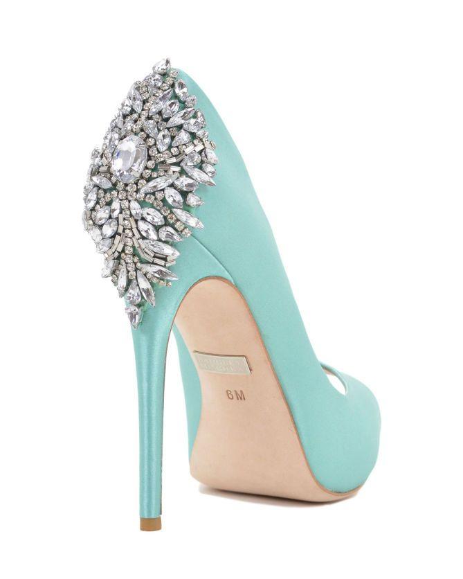 Badgley Mischka Kiara Embellished Peep-toe Pump (Tiffany Blue) - Shoes Post