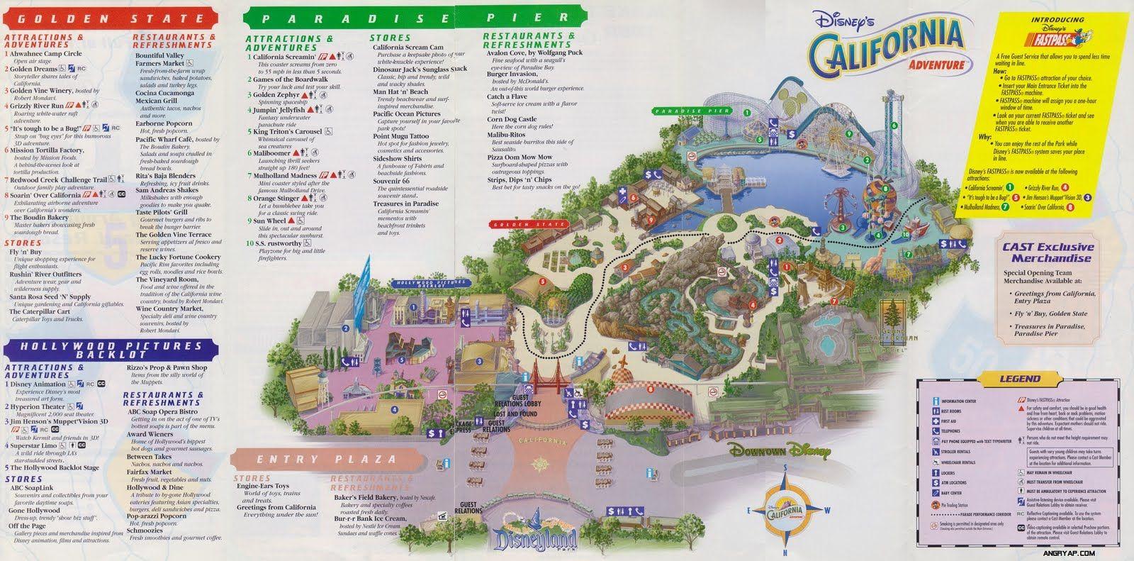 California Adventure 2001 Disneyland Map Disneyland