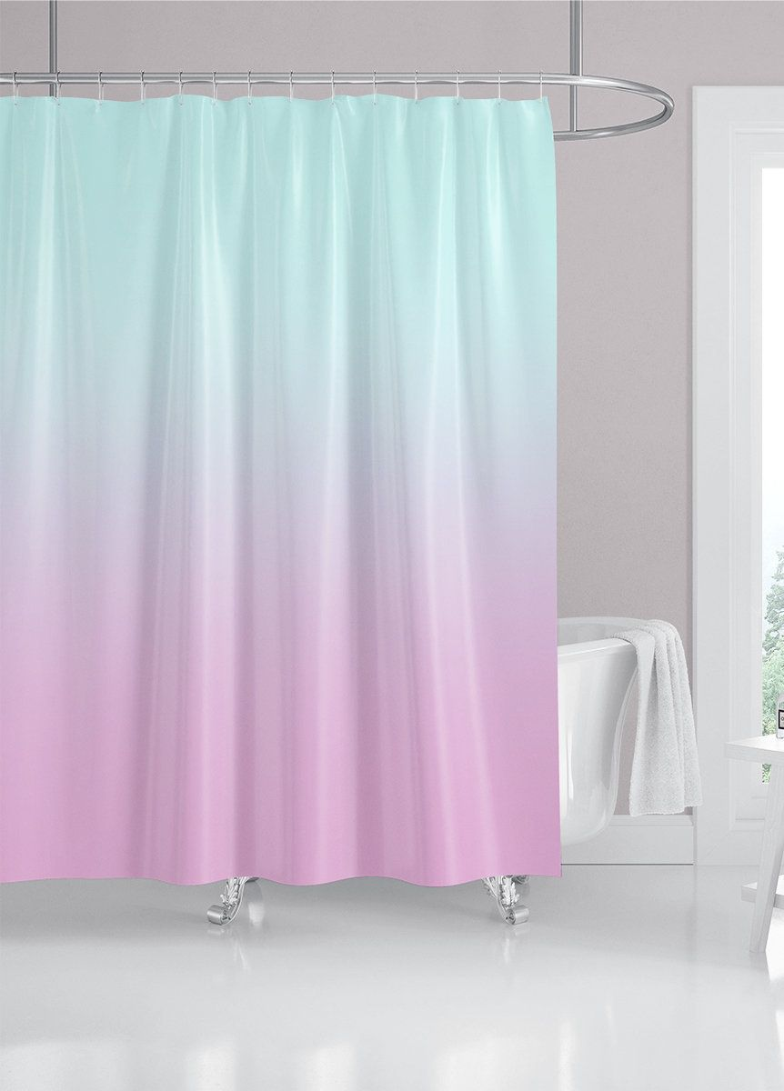 Aqua Blue And Lilac Purple Custom Shower Curtain Modern Ombre