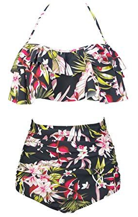 e686120218 Women's Retro Boho Flounce Falbala High Waist Bikini Set Chic Swimsuit,Falbala,  adjustable shoulder