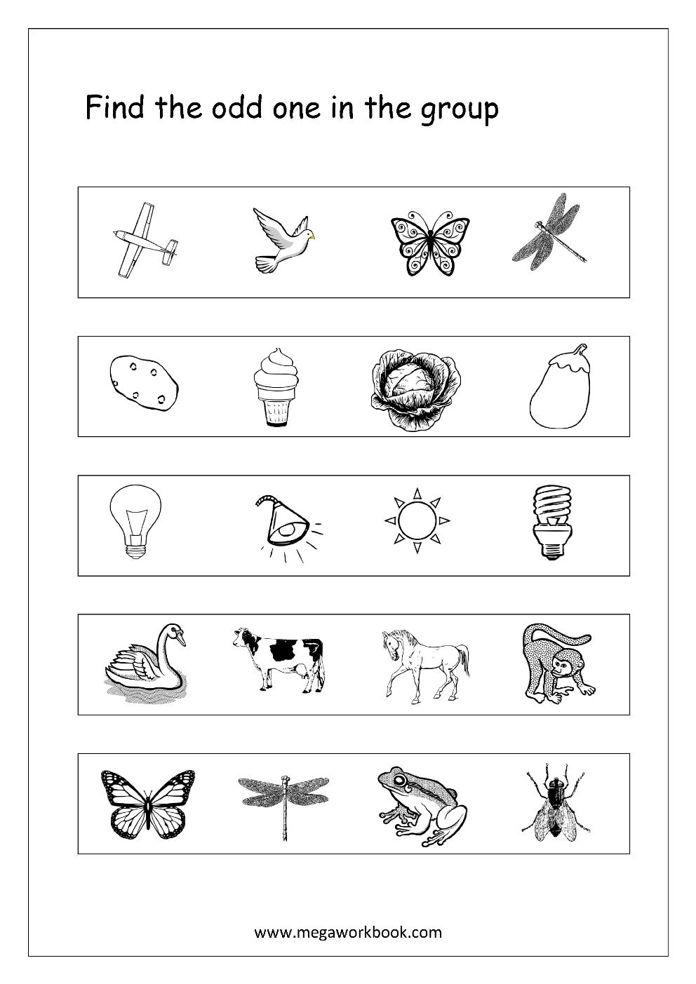 Odd One Out - Worksheet 3 | kognitív | Pinterest