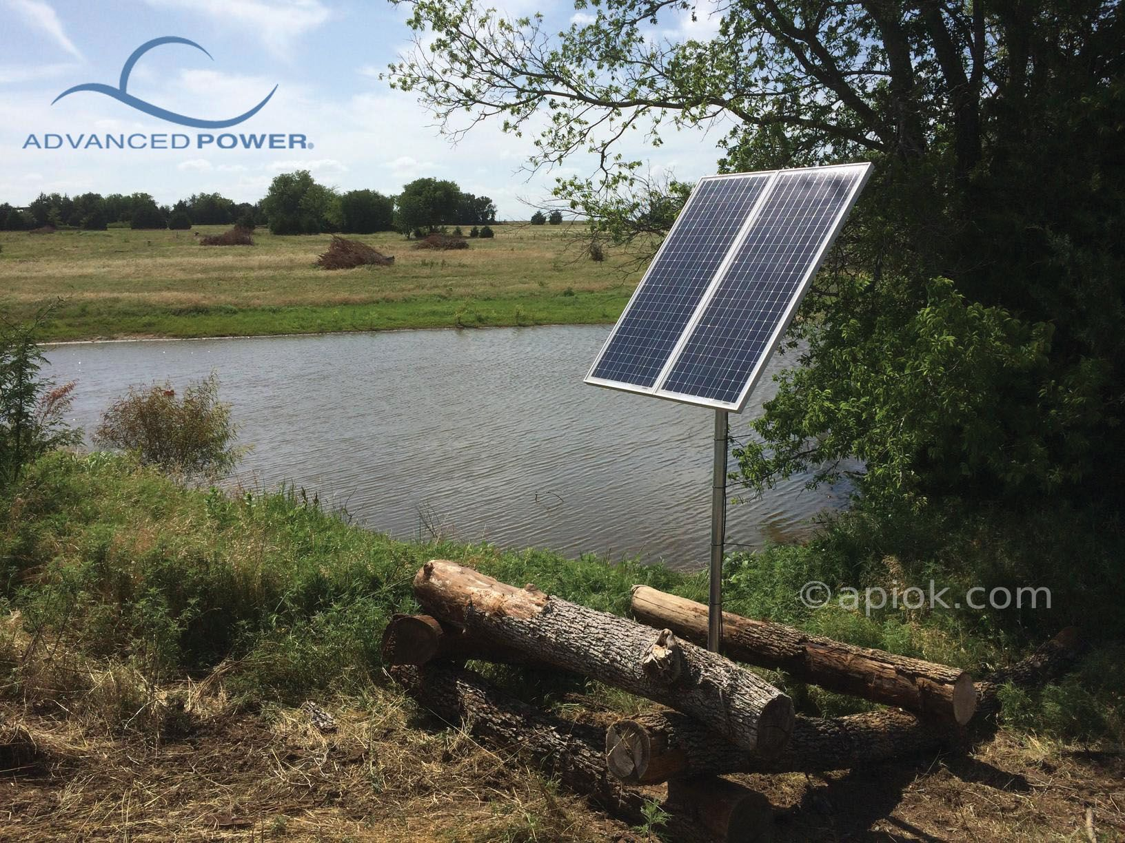 7 14 14 Ardmore Ok This Is Advanced Power Inc S Two Panel K170 Watt Solar Water Pump System Filling A Pond In Oklaho Solar Water Pump Buy Solar Panels Solar