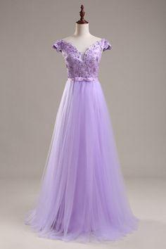 High Quality Prom Dress,A-Line Prom Dress,Tulle Prom Dress,V-Neck Prom Dress…
