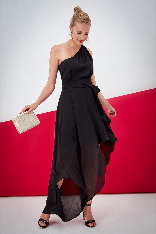 Journey Tek Omuzlu Siyah Uzun Asimetrik Abiye Elbise Elbisebul Elbise Elbise Modelleri Resmi Elbise