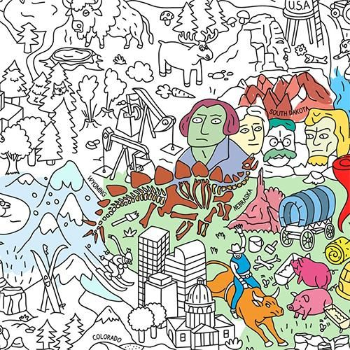 Usa Giant Coloring Poster By Omy Design Play Adventure Art Poster Colour Giant Poster