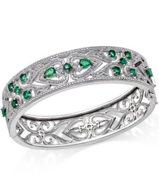 Emerald 2 1 2 ct t w and Diamond 1 3 ct t w Antique Look