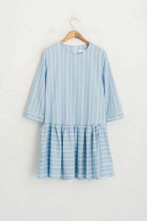 Vertical Stripe Dress, Sky Blue
