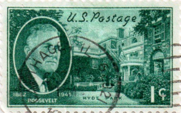 US Postage Stamp 1 Cents Roosevelt 1862 1945 Hyde Park Issued Scott Catalog 930