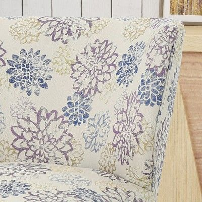 Best Laurier Modern Farmhouse Accent Chair Purple Floral 400 x 300