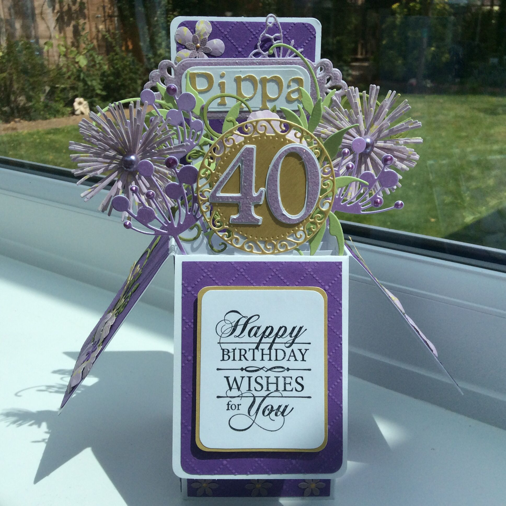 40th Birthday Pop Up Box Card Mary S Cards In A Box Pinterest