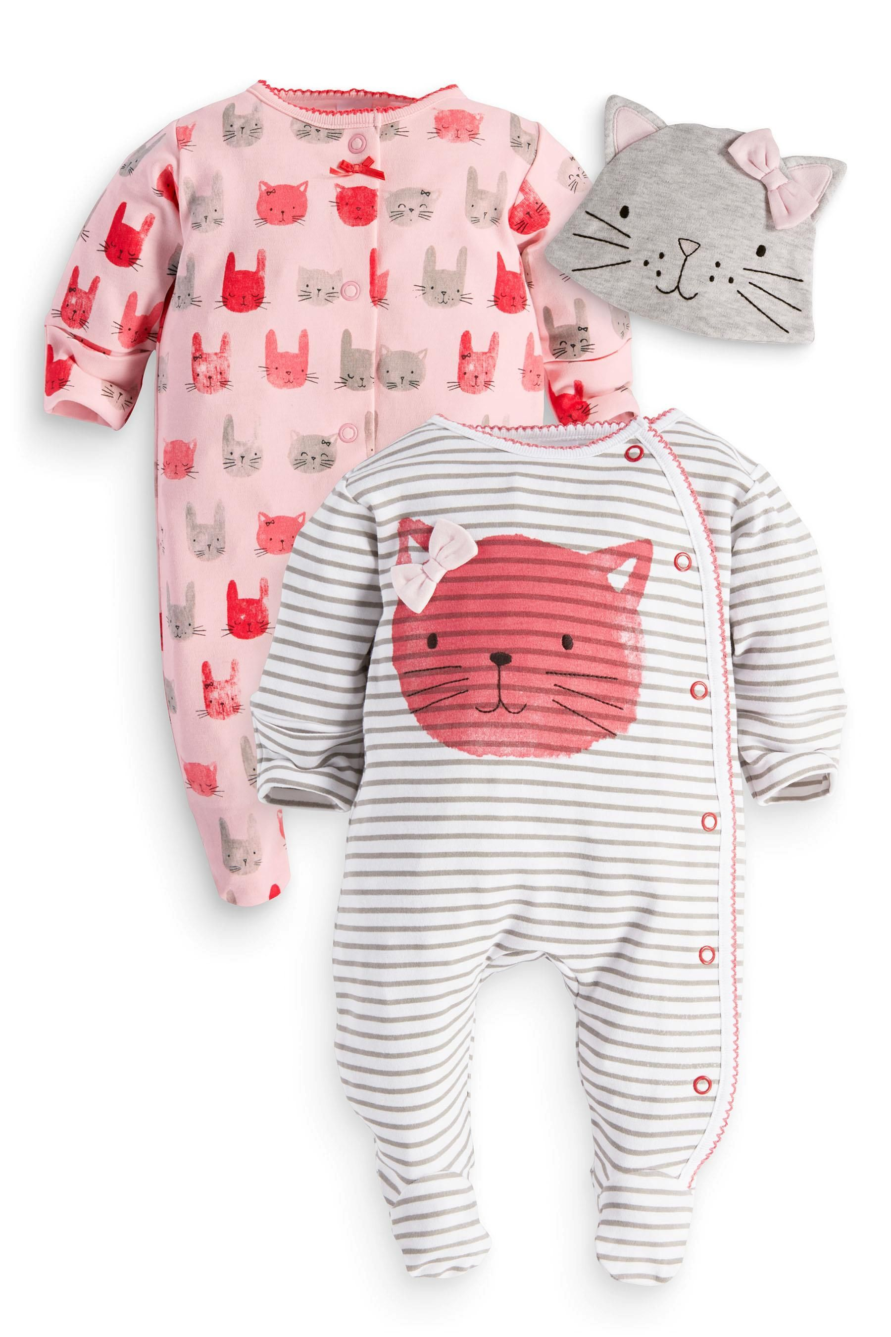 719268db9d7ba Buy Two Pack Cat Sleepsuits And Hat (0mths-2yrs) from the Next UK online  shop