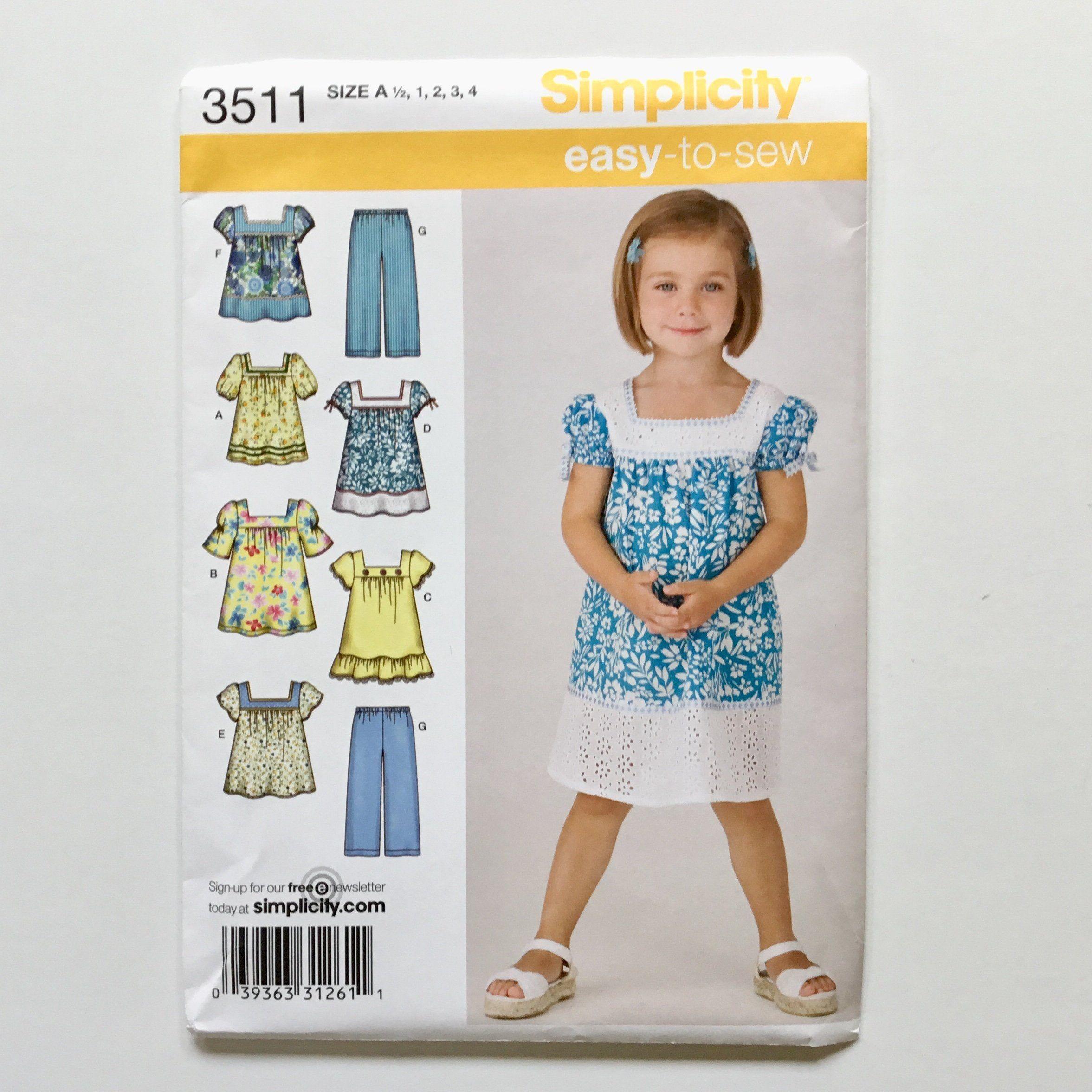 Simplicity 3511 (2008) Toddler Dress, Top, and Pants - Sizes 0.5-4 ...
