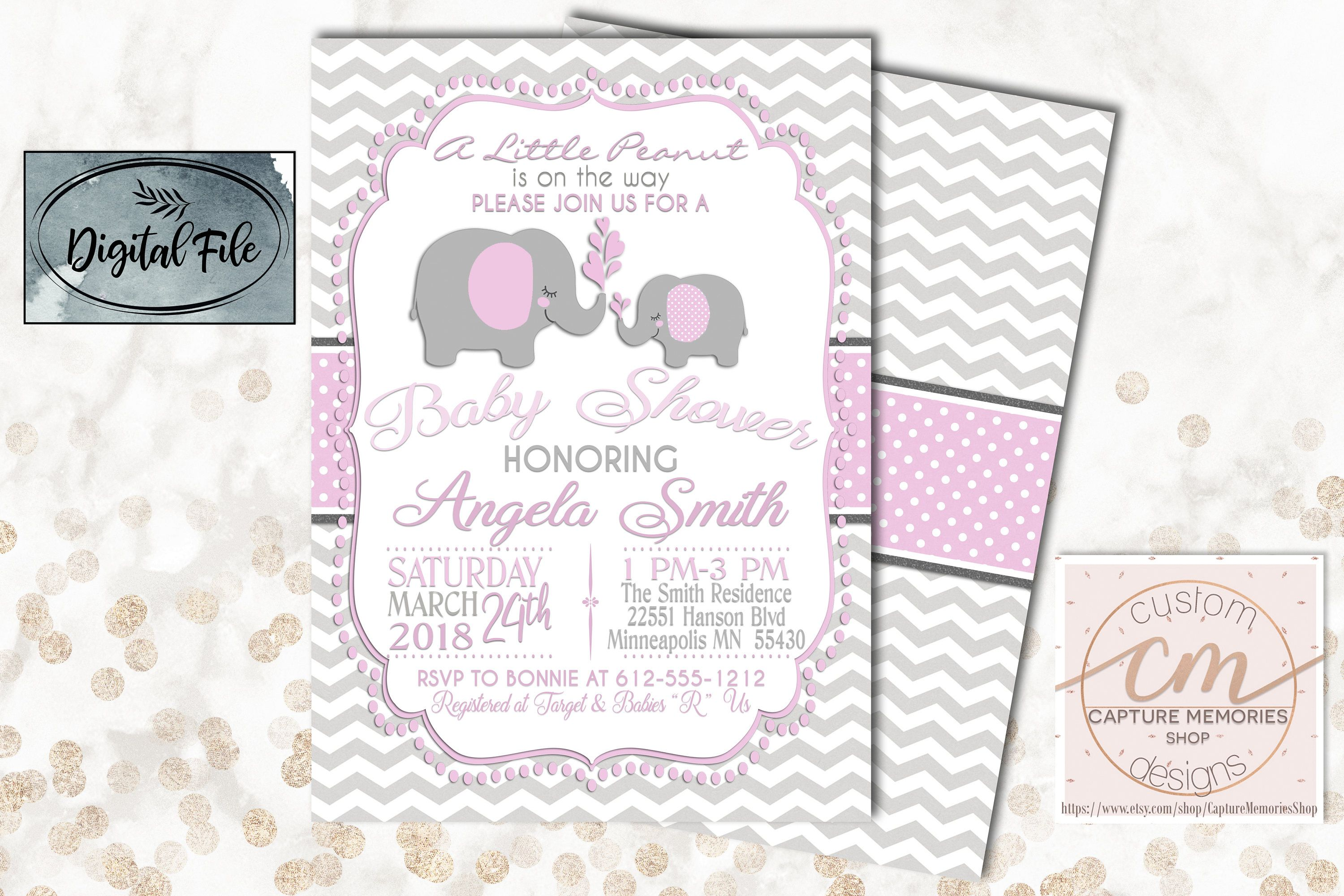 Pink and Gray Elephant Baby Shower Invitation|Pink Shower Invitation ...