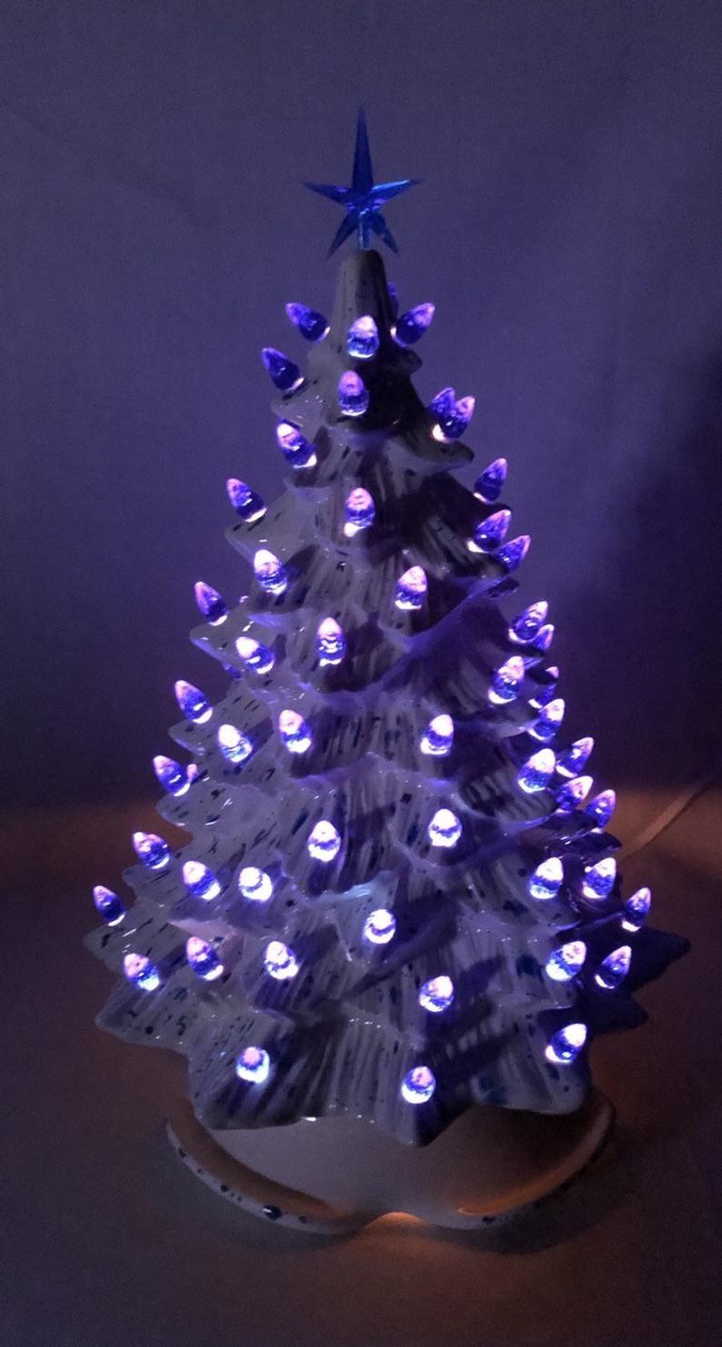 Ceramic Christmas tree light 15 inch tall white Etsy