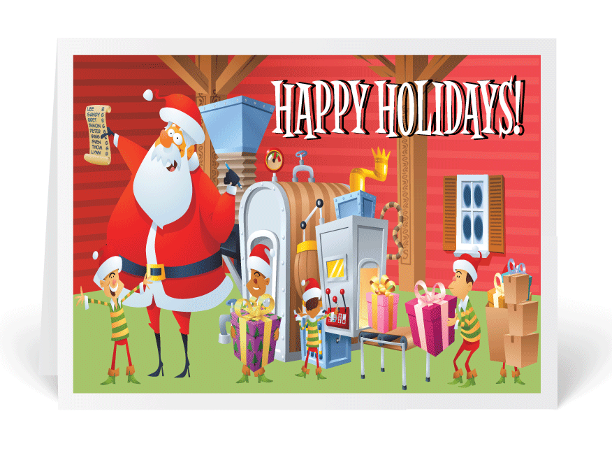 Factory manufacturing santa holiday cards funny cartoon santa factory manufacturing santa holiday cards funny cartoon santa business greeting card humorous santa christmas colourmoves