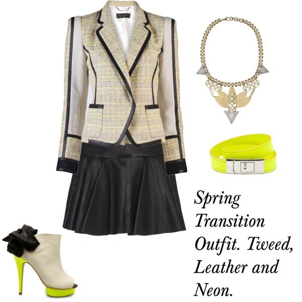 Spring Transition, created by teeveegal on Polyvore.  Tweed, Leather and Neon...!