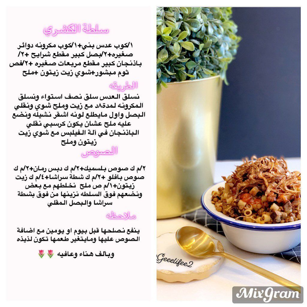 Gee Life On Instagram Geeelifee2 سلطة كشري سلطات لذيذه بسبوسه طب Dog Food Recipes Food Animals Cooking