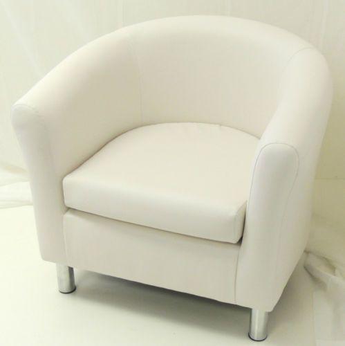 WHITE FAUX LEATHER TUB CHAIR / CHROME LEGS | EBay