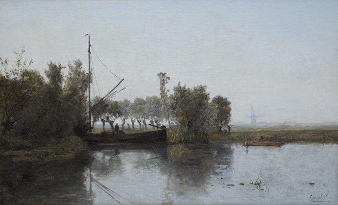 Paul Joseph Constantin Gabriël - Turftrekker met schuit in een polderlandschap