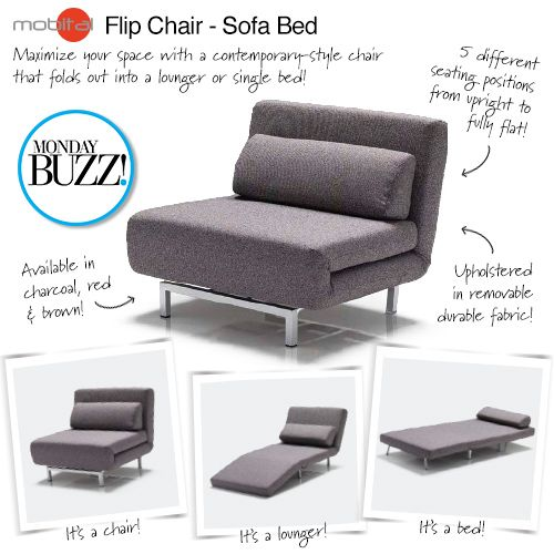 Catch You On The Flip Side Our Mondaybuzz Is This Flip Chair Sofa Bed It Folds Out To A Lounger Or A Single Sofa Single Sofa Bed Chair Sofa Bed