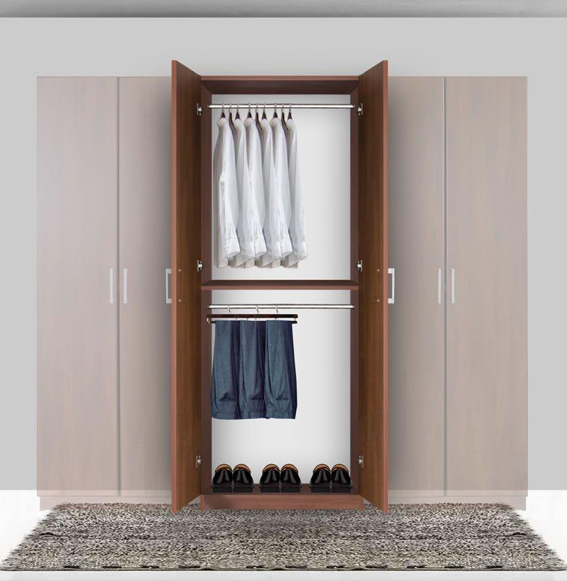 Bella Double Hanging Wardrobe Closet 2 Hang Rods Wardrobe