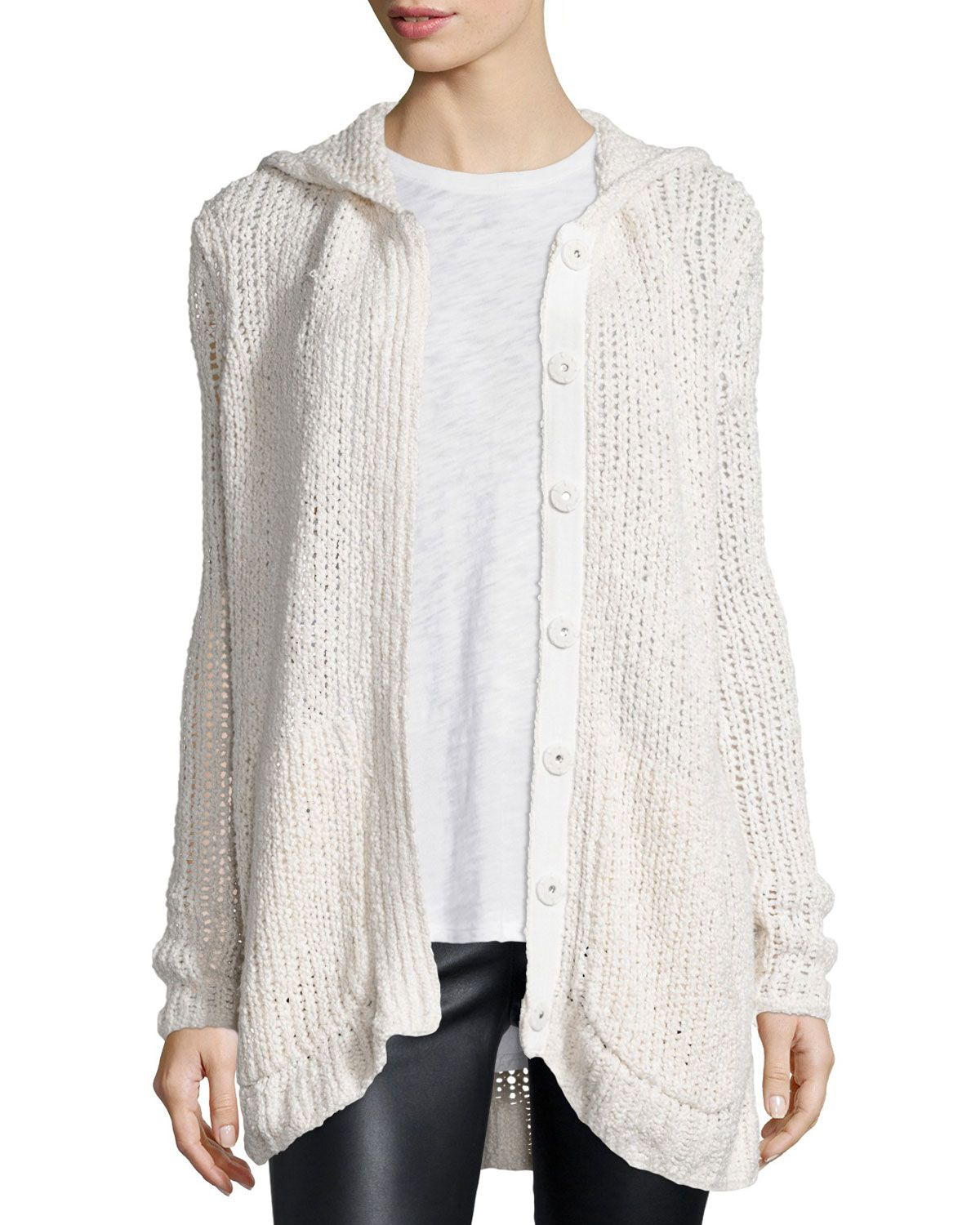 Hooded Oversize Button-Front Cardigan Sweater, Cream | Top ...