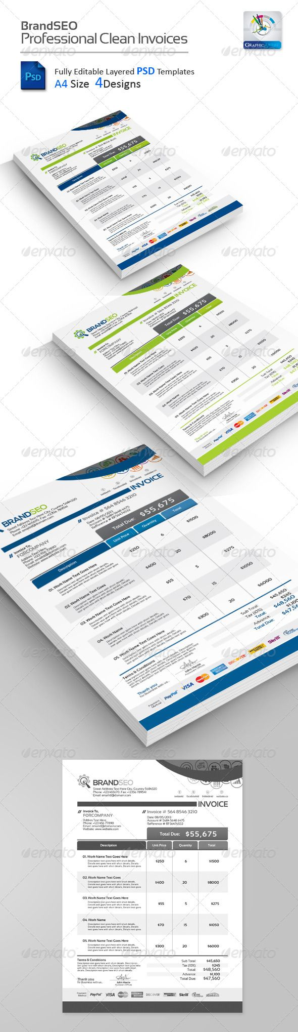 brandseo creative psd invoices creative green invoice click here to download