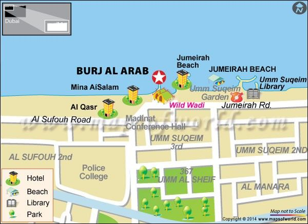 Burj Al Arab Dubai UAE Map Facts Location Guide Hotel Uae