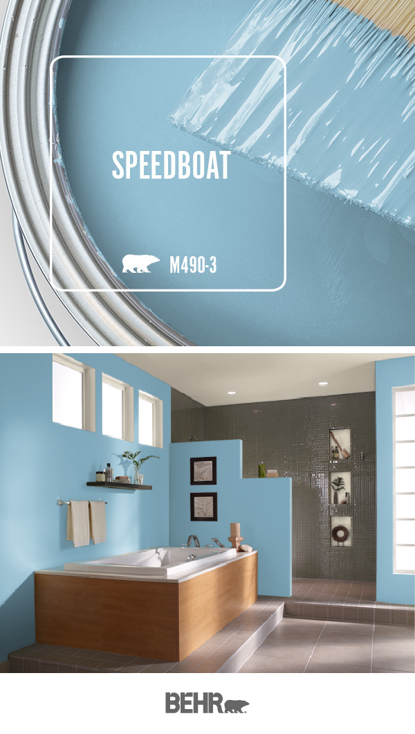 The Sky Blue Hue Of Speedboat By Behr Paint Is The Perfect Pop Of Color For This Spa Like Bathroo Sky Blue Paint Colors Behr Paint Colors Paint Colors For Home
