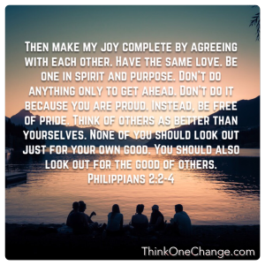 Agree, have peace and live with giving God joy. ThinkOneChange.com