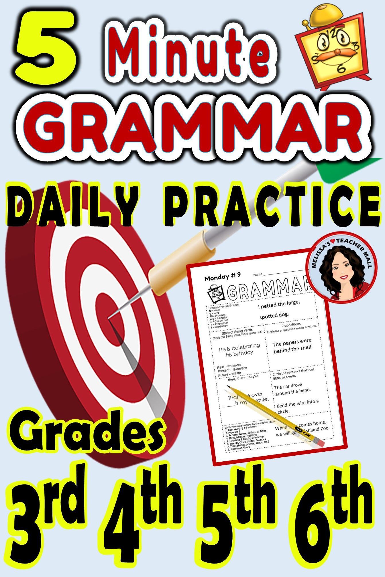 5 Minute Grammar Daily Grammar Worksheets 3rd Grade