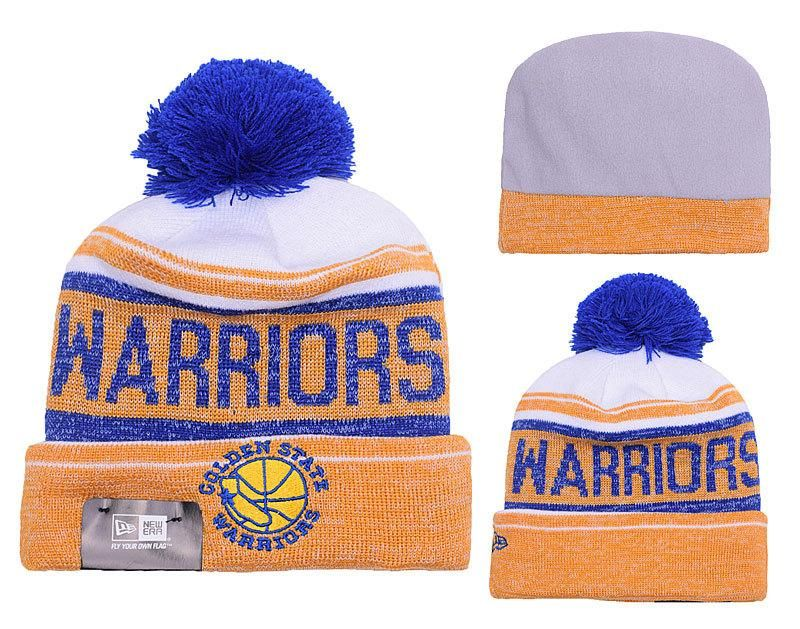 1b378c90ec1 Men s   Women s Golden State Warriors New Era NBA Hardwood Court Snow Dayz  Knit Beanie Pom Hat - White   Gold   Blue