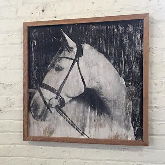 White Horse Art Equestrian Decor Handsome White Horse Framed Horse ...