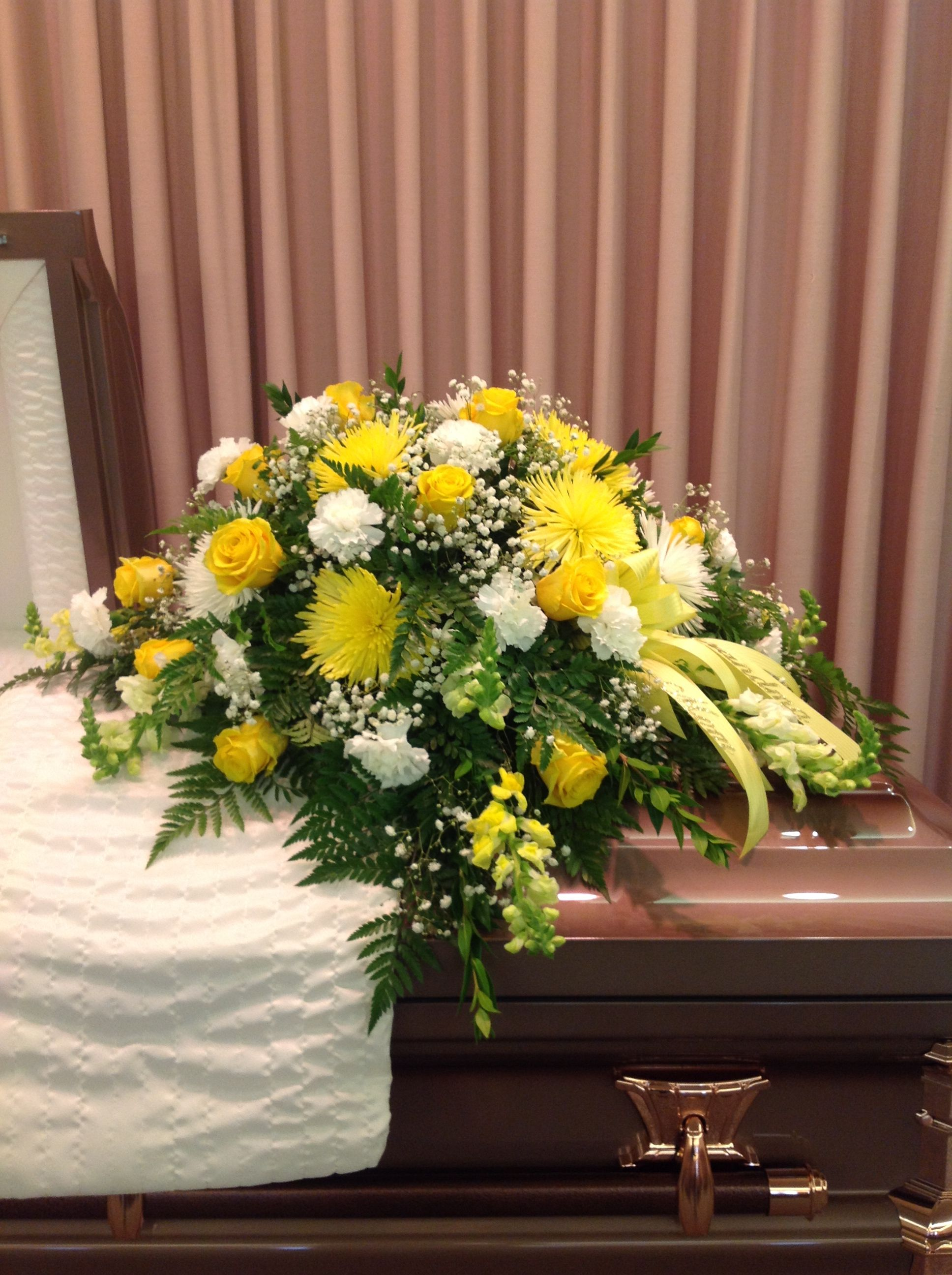 Yellow Casket Spray Of Yellow Roses Yellow Mums White Mums And White Carnations Ribbon Off To The Funeral Flowers Funeral Flower Arrangements Funeral Bouquet