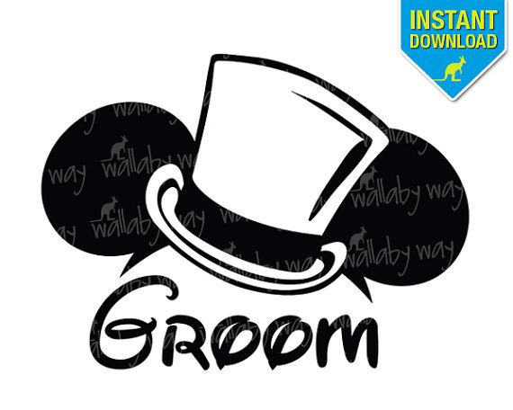 Disney Wedding Groom Mickey Ears Printable Iron On Transfer or Use ...